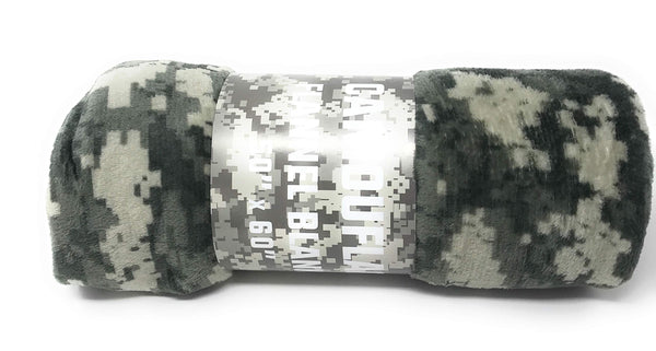 Goza Flannel Fleece Throw Blanket - Camouflage - Gozatowels