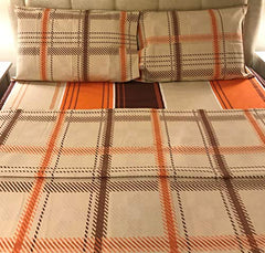 brown and orange plaid flannel flat sheet