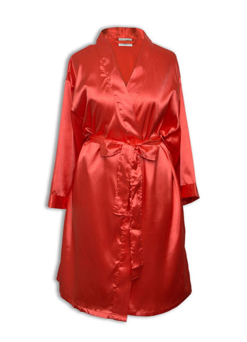 Goza Towels Women's Kimono Satin Robe, Solid Color, Short, Two Side Pockets - Gozatowels