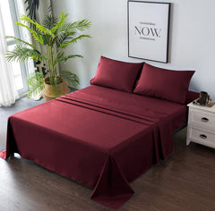 burgundy bed sheets
