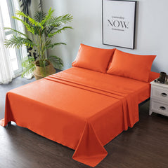 orange bed sheets