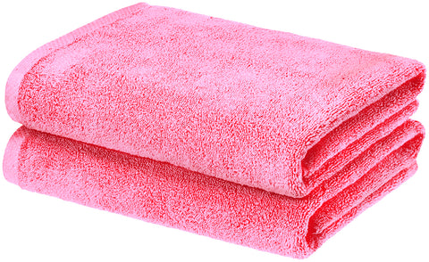 pink cotton bath towels