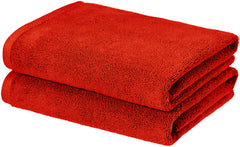 red bath towel