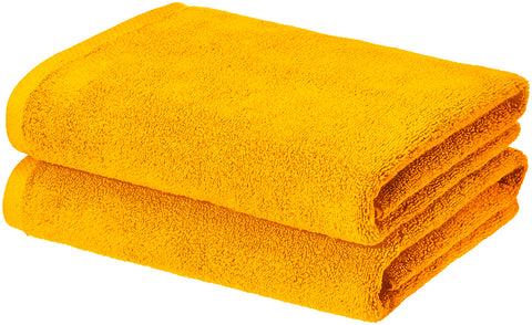 yellow bath towel