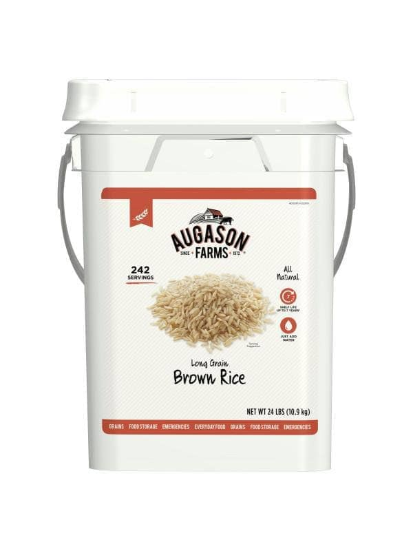 Augason Farms Long Grain Brown Rice 24lb # 4G GF