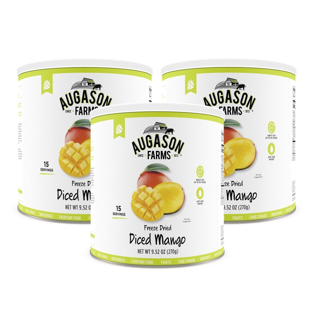 Augason Farms Freeze Dried Diced Mango 9.52 oz No. 10 Can 3-Pack, Free Shipping