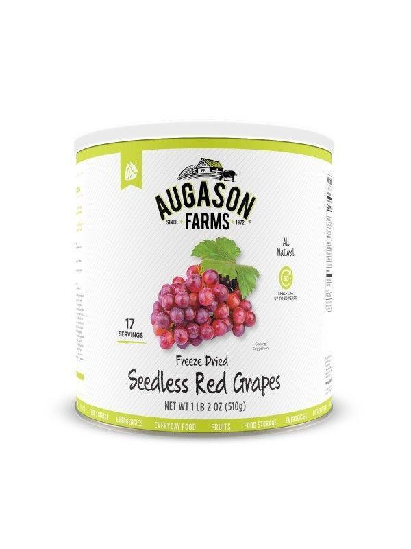 Augason Farms Freeze Dried Seedless Red Grapes 1 lb 2 oz No. 10 Can, Free Ship