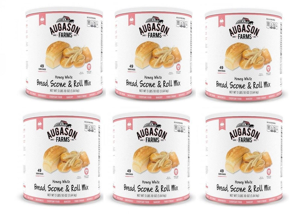 Augason Farms Honey White Bread Scone & Roll Mix Emergency Food Storage 6 Can