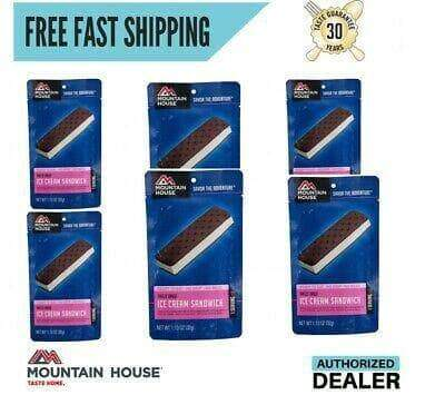 6 Pouches Ice Cream Sandwich Mountain House Freeze Dried Food