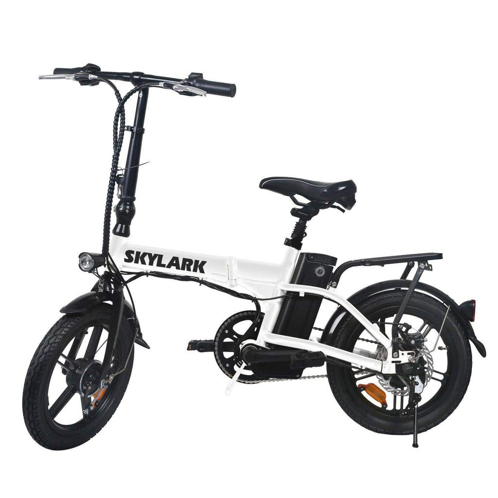 "NAKTO Skylark Folding Electric Bicycle With 250W Brushless Motor, 16"" Size, 36V 10Ah lithium Battery, White"