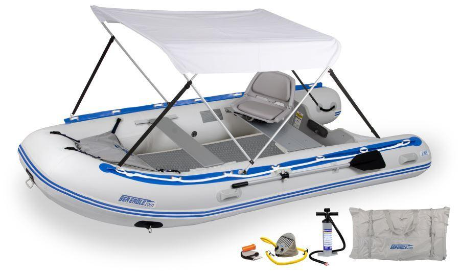 "Sea Eagle 12'6"" Sport Runabout Inflatable Boat(Swivel Seat Canopy)"