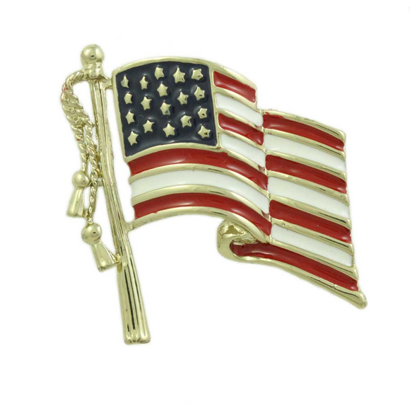 Red white blue USA brooch pin