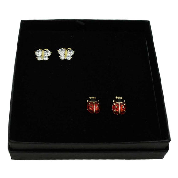 Lucky Lady Bug Necklace and Earring Gift Set