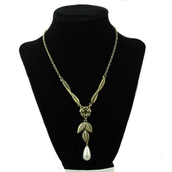 Antique Gold Flower and Leaves with Dangling Teardrop Pearl Necklace - Lilylin Designs