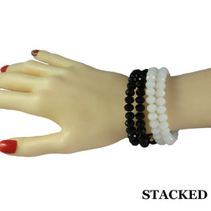 Beaded White & Black Glass Wrap Bracelet with Gold Ball (stacked) - Lilylin Designs