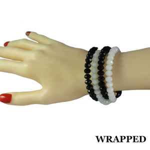 Beaded White & Black Glass Wrap Bracelet with Gold Ball (wrapped) - Lilylin Designs