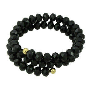 Black Beaded Wrap Bracelet - Lilylin Designs