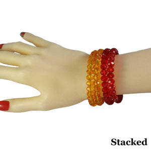 Model with Beaded Red & Yellow Glass Wrap Bracelet with Gold Ball (stacked) - Lilylin Designs