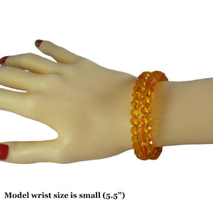 Model with Beaded Yellow Glass Wrap Bracelet with Gold Ball - Lilylin Designs