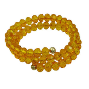 Beaded Yellow Glass Wrap Bracelet with Gold Ball - Lilylin Designs