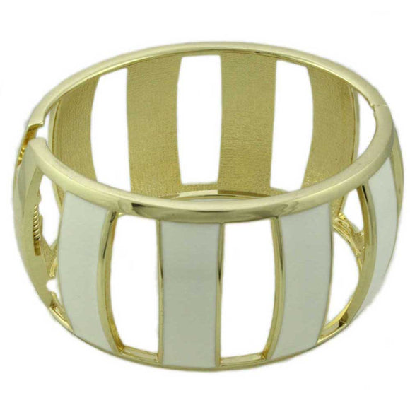 Cream Enamel Trimmed with Gold Caged Hinged Bangle - Lilylin Designs