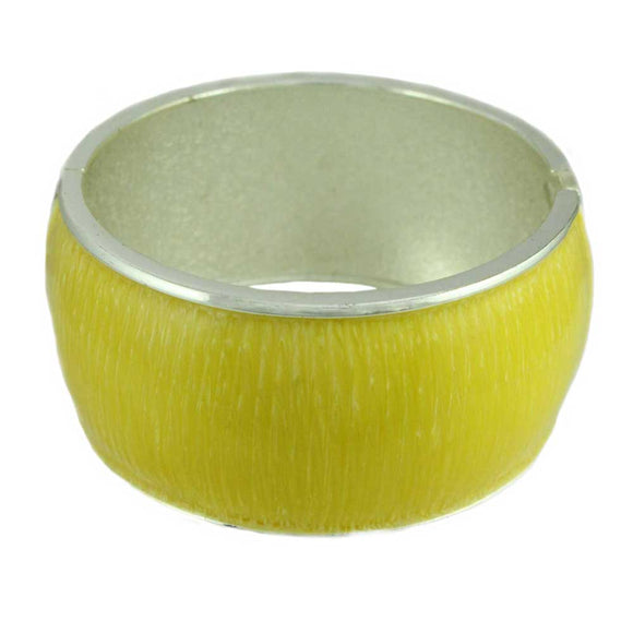 Lemon Yellow Striated Enamel Hinged Bangle - Lilylin Designs
