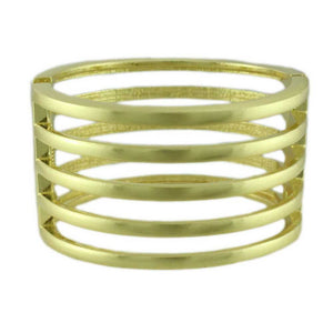 5 Rows of Matte Gold Bars Hinged Bangle - Lilylin Designs