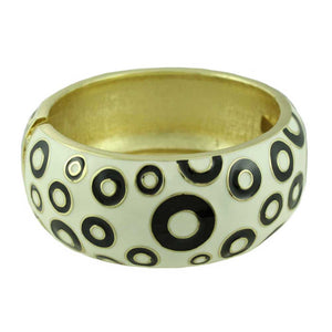 White Enamel with Black Polka Dots Hinged Bangle - Lilylin Designs