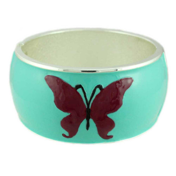 Aqua with Purple Enamel Butterfly Wide Hinged Bangle - Lilylin Designs