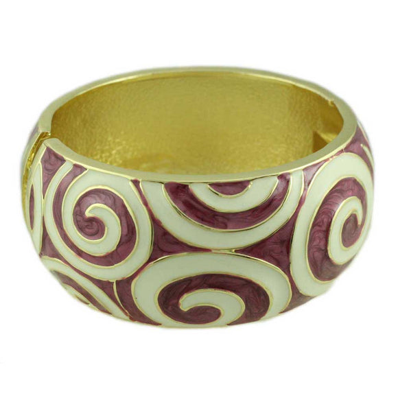 Purple Enamel with White Enamel Swirls Hinged Bangle - Lilylin Designs