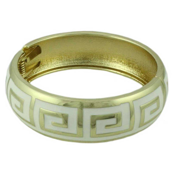 Greek Key Hinged Bangle - Lilylin Designs