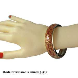 Model with Red and Orange Enamel Diamond Pattern Hinged Bangle - Lilylin Designs