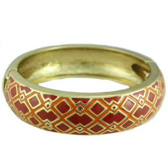 Red and Orange Enamel Diamond Pattern Hinged Bangle - Lilylin Designs