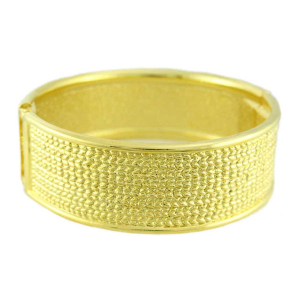 Shiny Goldplated Textured Hinged Bangle - Lilylin Designs