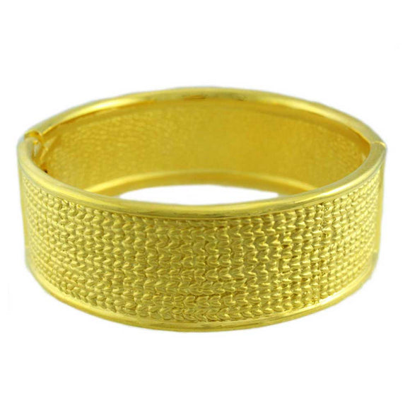 Matte Gold-plated Textured Hinged Bangle - Lilylin Designs