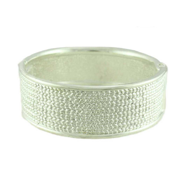 Shiny Silver-tone Textured Hinged Bangle - Lilylin Designs