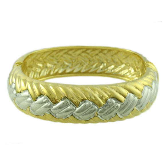 Gold and Silver-tone Wide Braided Hinged Bangle - Lilylin Designs
