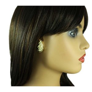 Model with Gold Textured Leaf Pierced Earring - Lilylin Designs