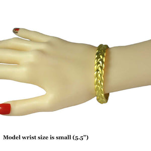 Model with Gold-plated Narrow Braided Look Hinged Bangle - Lilylin Designs