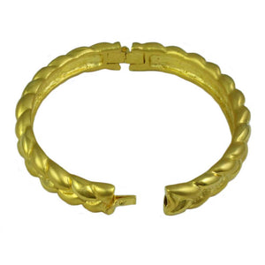 Gold-plated Narrow Braided Look Hinged Bangle (open) - Lilylin Designs