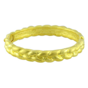 Gold-plated Narrow Braided Look Hinged Bangle - Lilylin Designs
