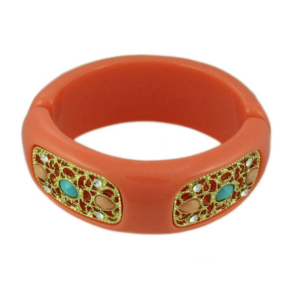 Coral Orange Acrylic with Gold Filigree Hinged Bangle - Lilylin Designs