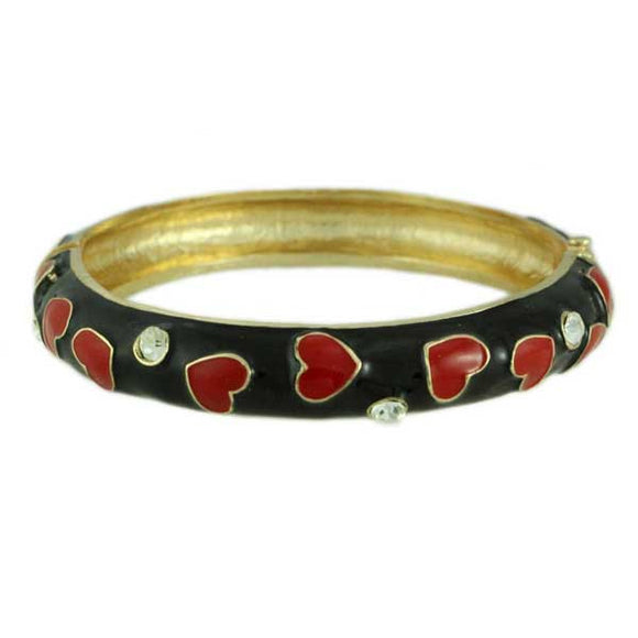 Black Enamel with Red Hearts Hinged Bangle - Lilylin Designs