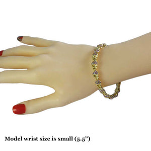 Model with Gold Ring of Aurora Borealis Crystal Skulls Halloween Bangle - Lilylin Designs