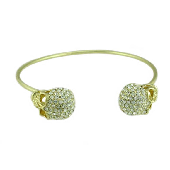 Thin Gold Bangle with 2 Large Clear Crystal Encrusted Skulls - Lilylin Designs