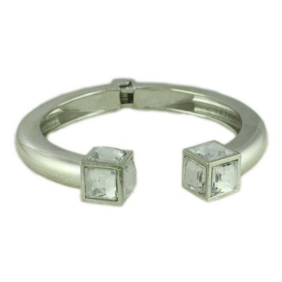 Silver Hinged Bangle with Large Clear Stone Cube - Lilylin Designs