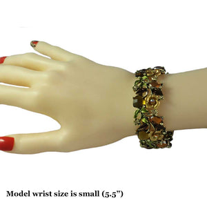Model with Brown and Green Enamel Flowers and Leaves Cuff Bangle - Lilylin Designs
