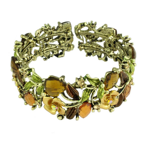Brown and Green Flowers and Leaves Cuff Bangle - Lilylin Designs