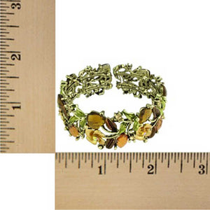 Brown and Green Flowers and Leaves Cuff Bangle (sized) - Lilylin Designs