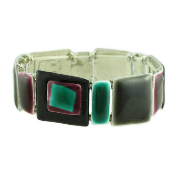 Dark Brown, Teal and Mulberry Enamel Stretch Bracelet - Lilylin Designs